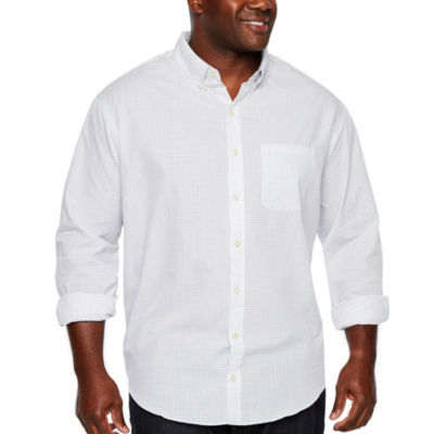 Van Heusen Wrinkle Free Poplin Button Down Long Sleeve Checked Button-Front Shirt-Big and Tall