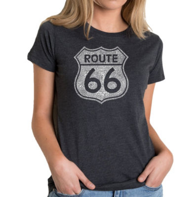 Los Angeles Pop Art Women's Premium Blend Word ArtT-shirt - CITIES ALONG THE LEGENDARY ROUTE 66