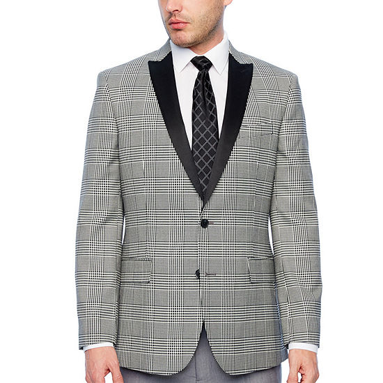JF J.Ferrar Tartan Black and White Classic Fit Sport Coat