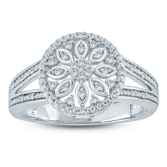 Womens 1/10 CT. T.W. White Diamond Sterling Silver Crossover Cocktail Ring