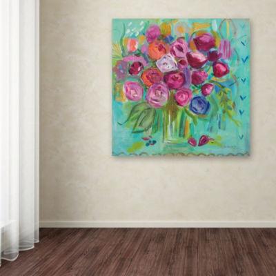 Trademark Fine Art Farida Zaman Pink Peonies Giclee Canvas Art