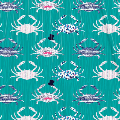 Inspired Surroundings Crabs Shower Curtain