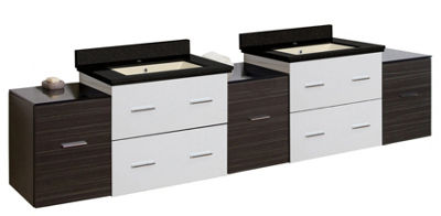 88.5-in. W Wall Mount White-Dawn Grey Vanity Set For 1 Hole Drilling Black Galaxy Top Biscuit UM Sink