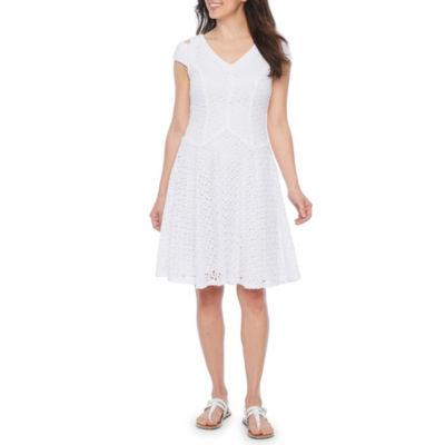 Rabbit Rabbit Rabbit Design Short Sleeve Cold Shoulder Lace Fit & Flare Dress