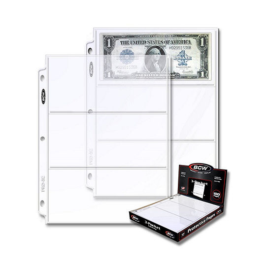 3-Pocket Currency And Coupon Size Binder Pages (100 Ct. Box)
