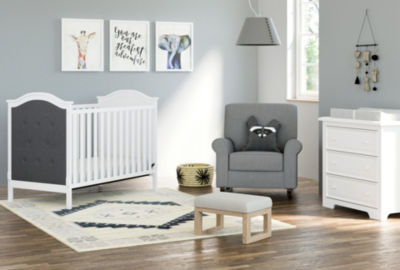 Graco Linden Upholstered 3-in-1 Convertible Crib - White/Gray