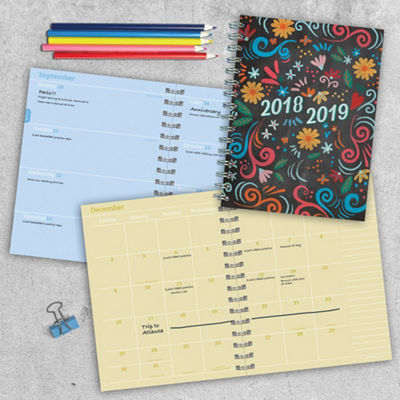 July 2018 - June 2019  Chalk Medium Weekly Monthly Planner