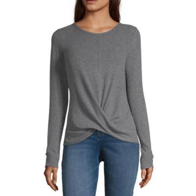 by&by Womens Scoop Neck Long Sleeve Sweatshirt Juniors