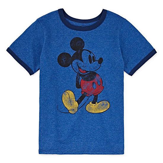 Disney Boys Round Neck Short Sleeve Mickey Mouse Graphic T-Shirt - Preschool / Big Kid