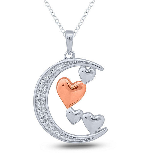 Womens 1 10 Ct Tw White Diamond Sterling Silver Heart Pendant Necklace
