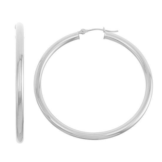 14k White Gold 40mm Hoop Earrings