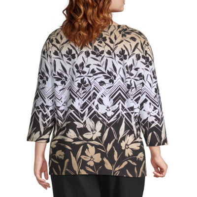 Alfred Dunner Travel Light Chevron Floral Blouse - Plus