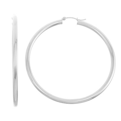 14K White Gold 55mm Hoop Earrings