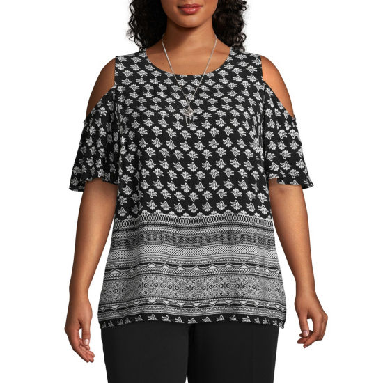 Alyx Short Sleeve Round Neck Woven Blouse-Plus