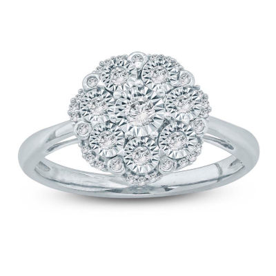 Womens 1/5 CT. T.W. White Diamond Sterling Silver Crossover Ring