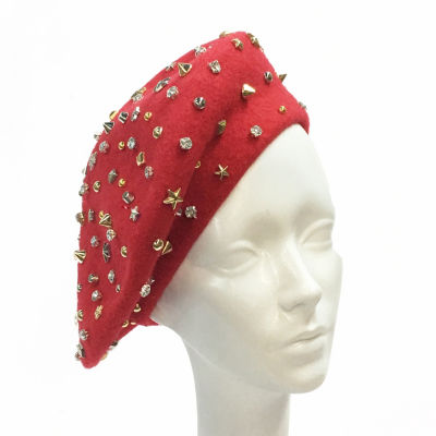 Whittall & Shon Studded Beret Derby Hat
