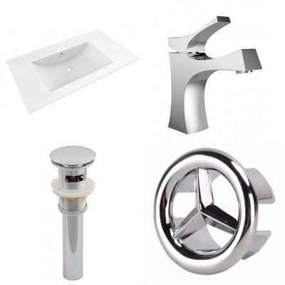 35.5-in. W 1 Hole Ceramic Top Set In White Color -CUPC Faucet Incl.  - Overflow Drain Incl.