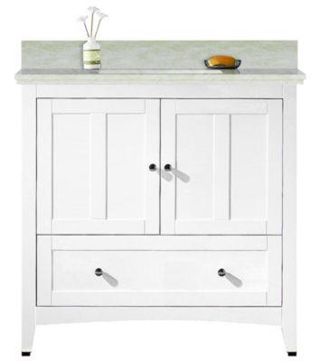 36-in. W Floor Mount White Vanity Set For 3H4-in.Drilling Beige Top Biscuit UM Sink