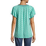 St. John's Bay Womens Split Crew Neck Short Sleeve Slubbed Ruffled Blouse