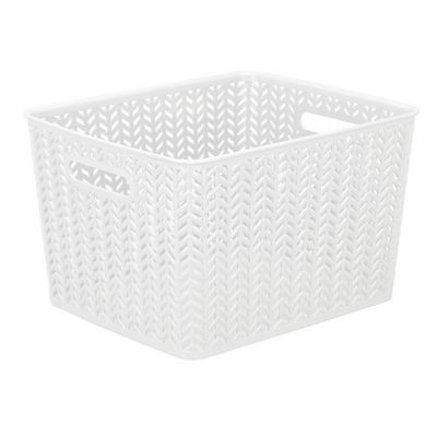 Resin Herringbone Storage Tote-White -Large 13.75 X 11.50 X 8.75