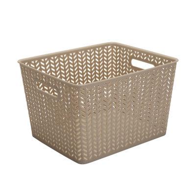 Resin Herringbone Storage Tote-Taupe-Large 13.75X11.5X8.75
