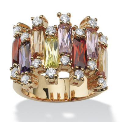 Womens Pink Cubic Zirconia 14K Gold Over Brass Cocktail Ring