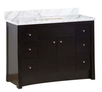 47.6-in. W Floor Mount Distressed Antique Walnut Vanity Set For 3H8-in. Drilling Bianca Carara Top Biscuit UM Sink