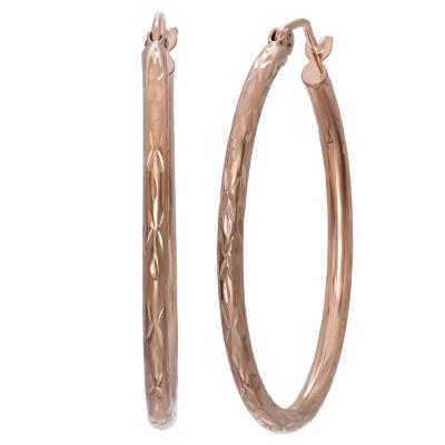 14K Rose Gold 30mm Hoop Earrings