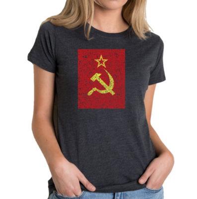 Los Angeles Pop Art Women's Premium Blend Word ArtT-shirt - Lyrics to the Soviet National Anthem