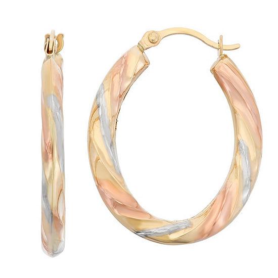 14K Tri-Color Gold 24mm Hoop Earrings