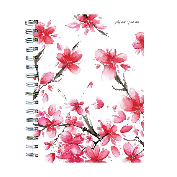 July 2018 - June 2019  Cherry Blossoms Medium Weekly Monthly Planner