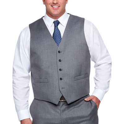 Shaquille O'Neal XLG Gray Solid Stretch Suit Vest - Big and Tall