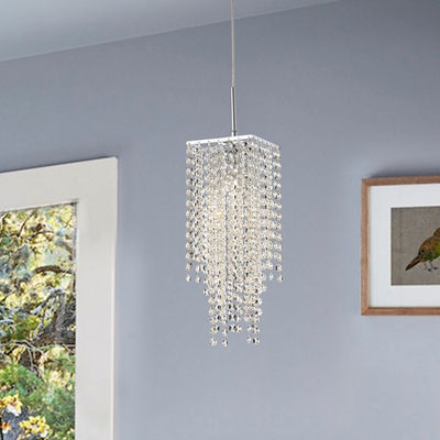 Warehouse Of Tiffany Sheea 1-light Crystal Falls Chrome Chandelier