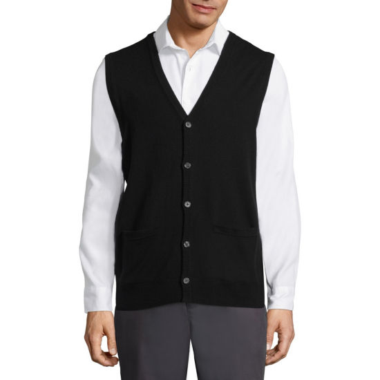 Claiborne Mens Y Neck Sweater Vest
