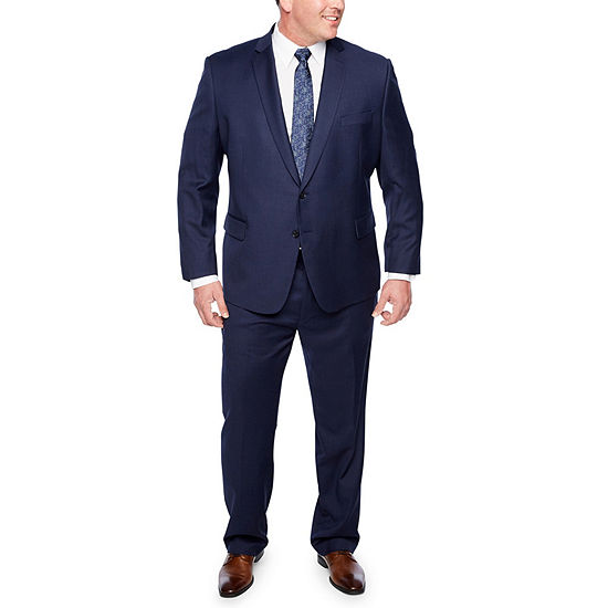 Claiborne Navy Texture Big And Tall Fit Suit Separates