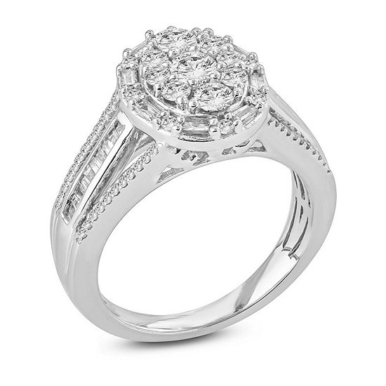 Womens 1 Ct Tw Genuine White Diamond 10k Gold Engagement Ring