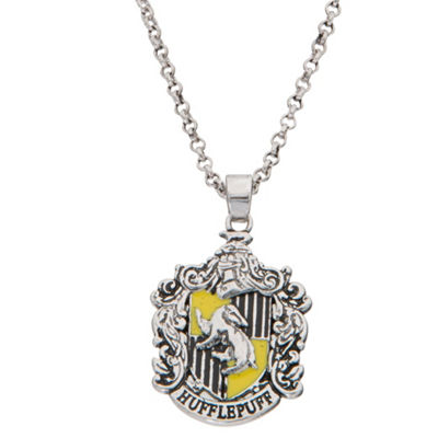 Warner Bros Hufflepuff House Crest Womens Brass Harry Potter Pendant Necklace
