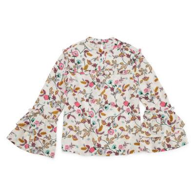 Arizona High Bell Sleeve Ruffled Floral Blouse - Girls' 4-16 & Plus