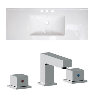 39.75-in. W 3H8-in. Ceramic Top Set In White Color- CUPC Faucet Incl.