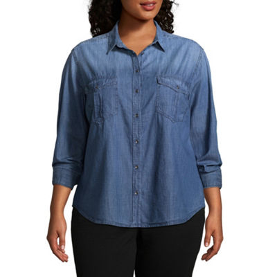 Arizona Womens Long Sleeve Loose Fit Button-Front Shirt-Juniors Plus