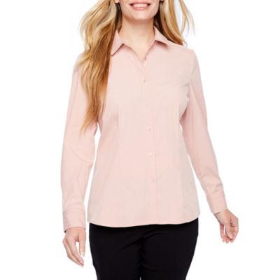 Liz Claiborne Long Sleeve Button-Front Shirt-Petite
