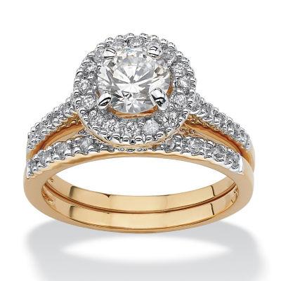 Diamonart Womens 1 3/4 CT. T.W. White Cubic Zirconia 18K Gold Over Brass Bridal Set