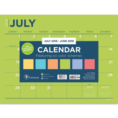 July 2018 - June 2019  Color Collection Mini DeskPad Calendar