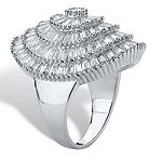 DiamonArt® Womens White Cubic Zirconia Platinum Over Silver Cocktail Ring
