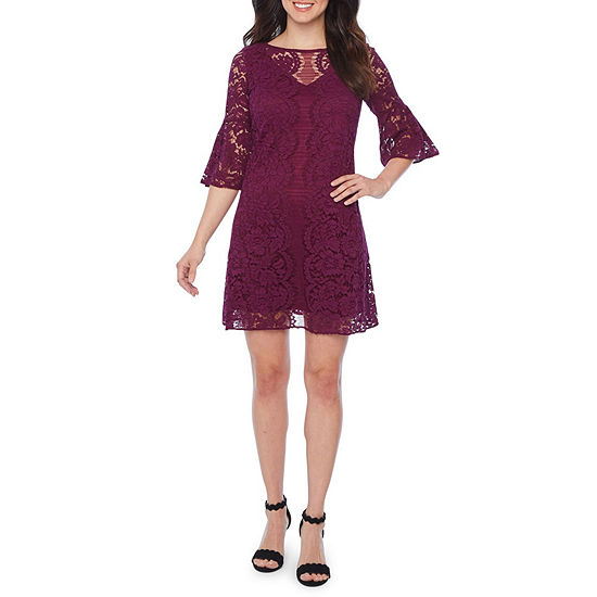 Danny & Nicole 3/4 Bell Sleeve Lace Floral Shift Dress