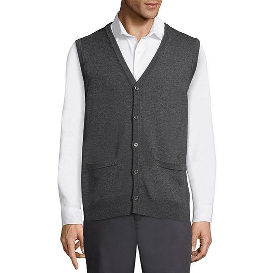 Claiborne Mens Y Neck Sweater Vest