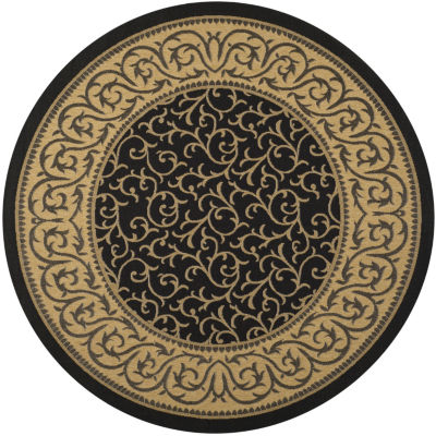 Safavieh Courtyard Collection Kiana Oriental Indoor/Outdoor Round Area Rug