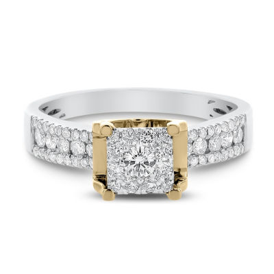 Womens 1/2 CT. T.W. Genuine White Diamond 14K Two Tone Gold Engagement Ring