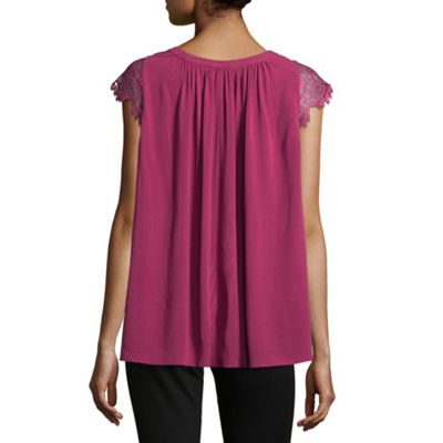 Libby Edelman Lace Trim Swing Top