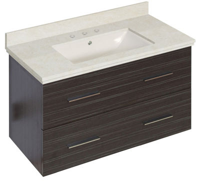 36-in. W Wall Mount Dawn Grey Vanity Set For 3H8-in. Drilling Beige Top Biscuit UM Sink